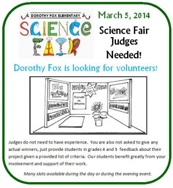 Science Fair Volunteers Needed 2014