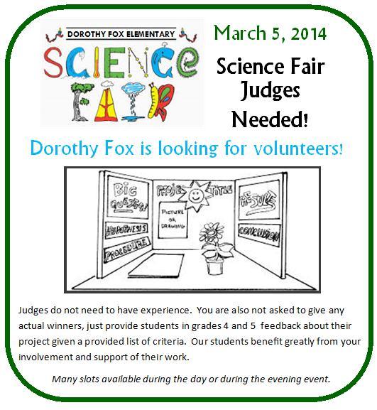 science fair volunteers needed 2014 dorothy fox elementary
