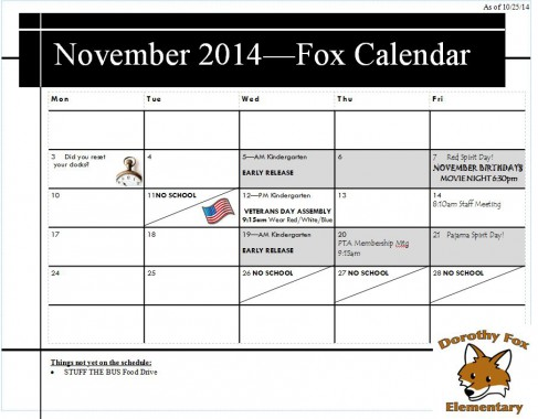 November 2014 Calendar  for Blog