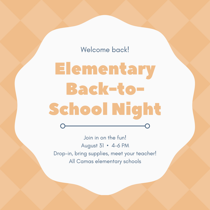 Back-to-school night is August 31 from 4-6 PM!