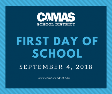 Graphic indicating the first day of school is September 4, 2018.