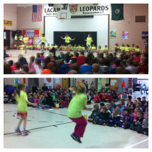 Jump rope team of students 1st-8th shares their skills.