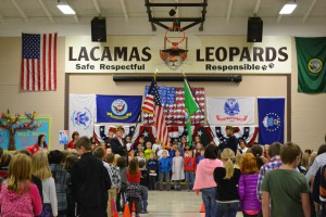 Lacamas students sang and our Leadership student presented a reading reminding us all of the service our Veterans gave for our freedom. We followed our special assembly with a reception to thank our Veterans and their families. Thank you to everyone who helped make this a meaningful time for our kids and community!