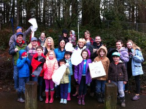 Lacamas families from Ms. Blair, Irwin and Wait's classrooms extend their learning to support our community with a lake and trail cleanup day. Thank you!