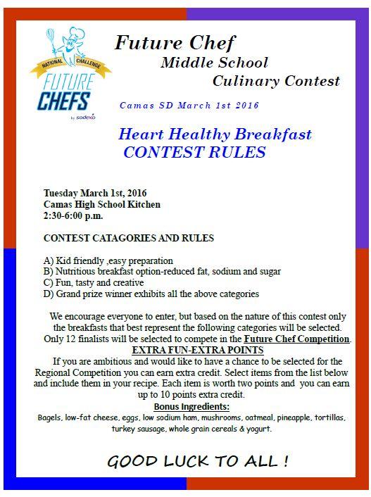 Future Chef Culinary Contest Rules